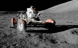 Astronaut in rover