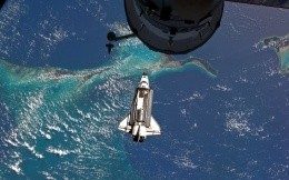 Docking space shuttle