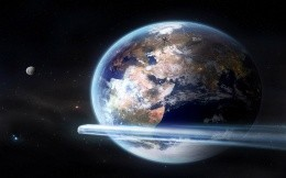 Planet Earth, satellites and comet