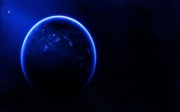 Planet illuminated with blue light