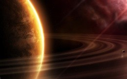 Planet with rings in space