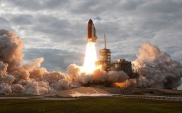 Shuttle launch into space