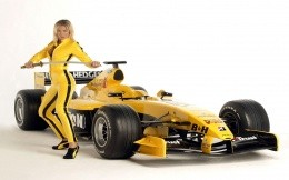 a girl and a Formula 1 car