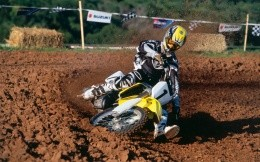 Motocross dirt on motorcycles