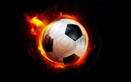 Soccer ball with fire effect.