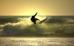 surfer in the evening light