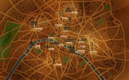 A stylized map of Paris