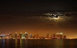 Beautiful night sky over the city