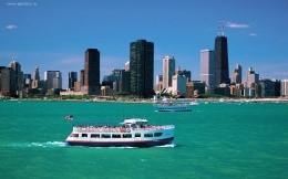 Chicago, Illinois, with a view of the sea, wallpaper, city, boat, sea.