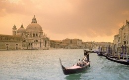 Dawn over the Grand Canal in Italy, boat, wallpaper