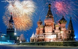 Moscow winter, wallpaper fireworks over kremlevsoy area, city, town