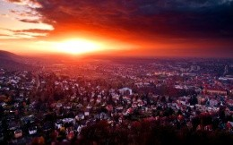 Photo-Miniature, sunset over the city