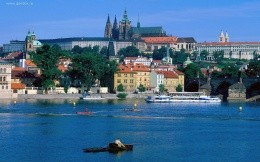 Prague, Czech Republic and the river in the city wallpaper.
