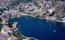 Symi, Greece, wallpaper, city - City View of Symi in Greece aerial view.