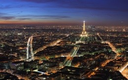 The city of Paris from the top at night