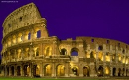 The city of Rome, Italy - Colosseum at night wallpaper - city