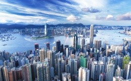 The modern city of Hong Kong with skyscrapers aerial