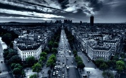 Urban landscape, black and white city with green derevyaimi