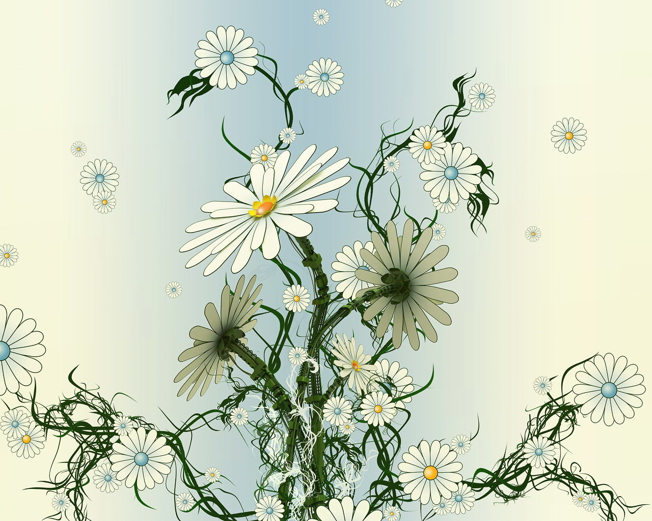 3D electronic chamomile flowers