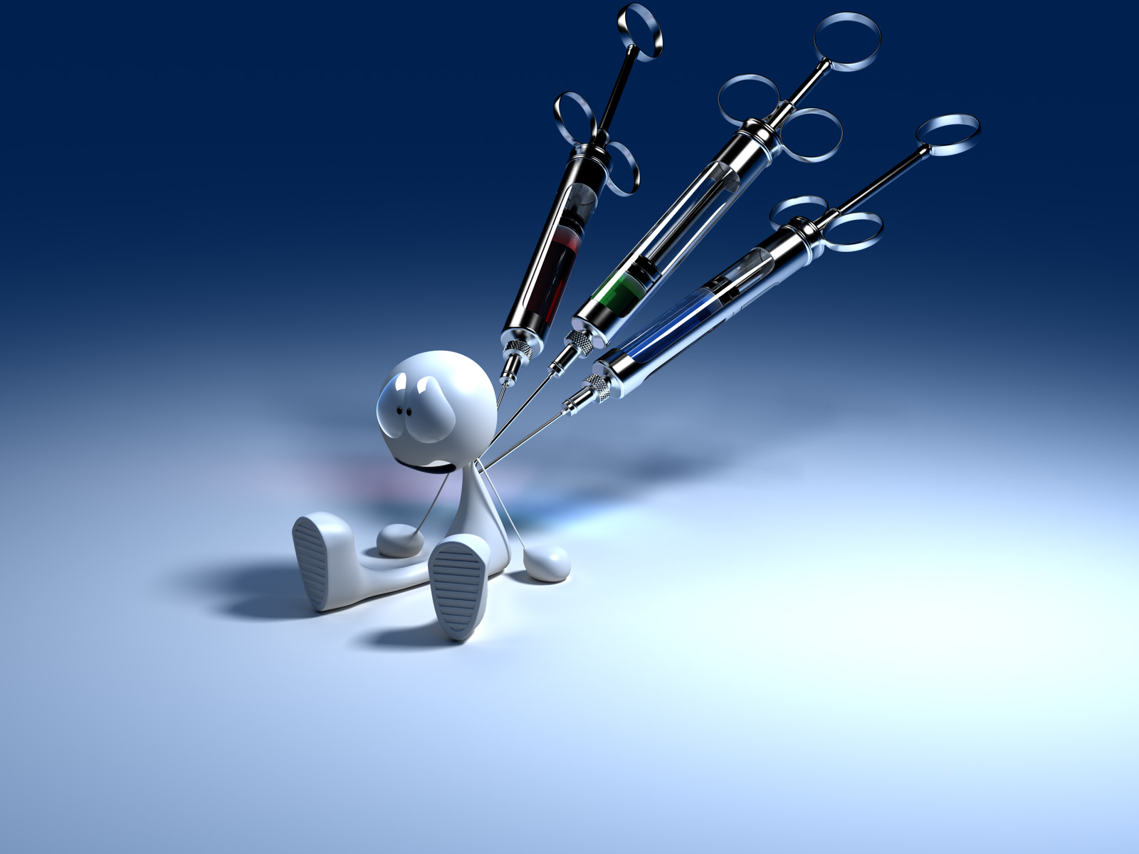 3D man with a syringe in his back, medical wallpaper - a theme medicine syringe