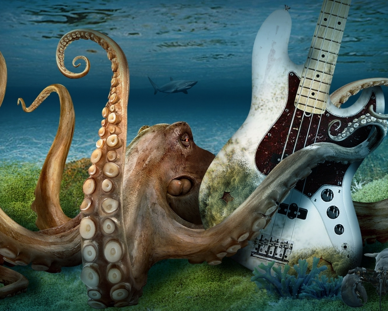 octopus with a guitar