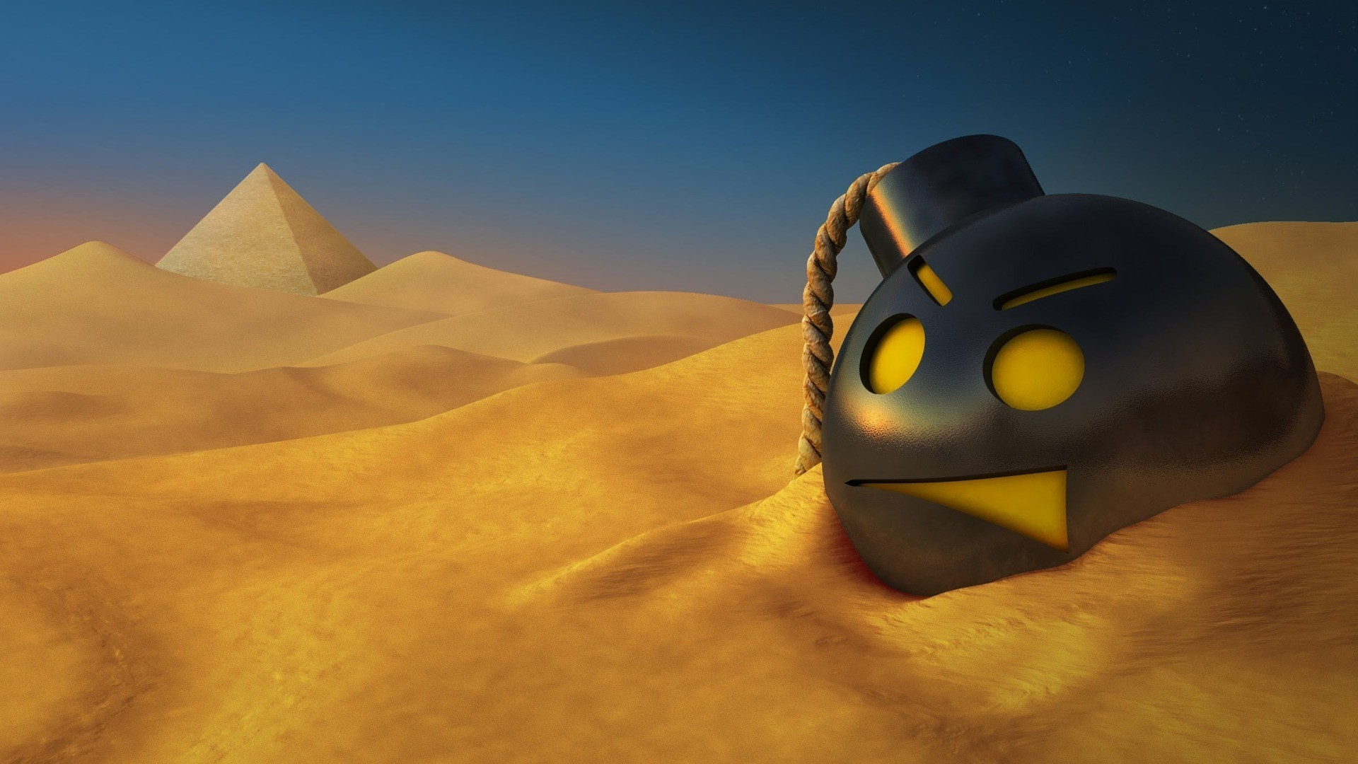 Round bomb in the desert wallpaper