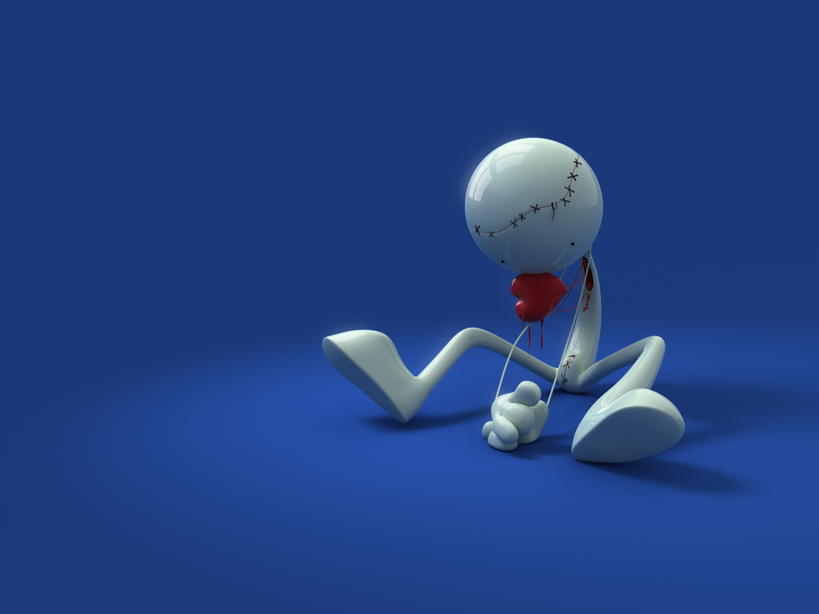 Sadness and loneliness - 3D man with a flower image for your desktop