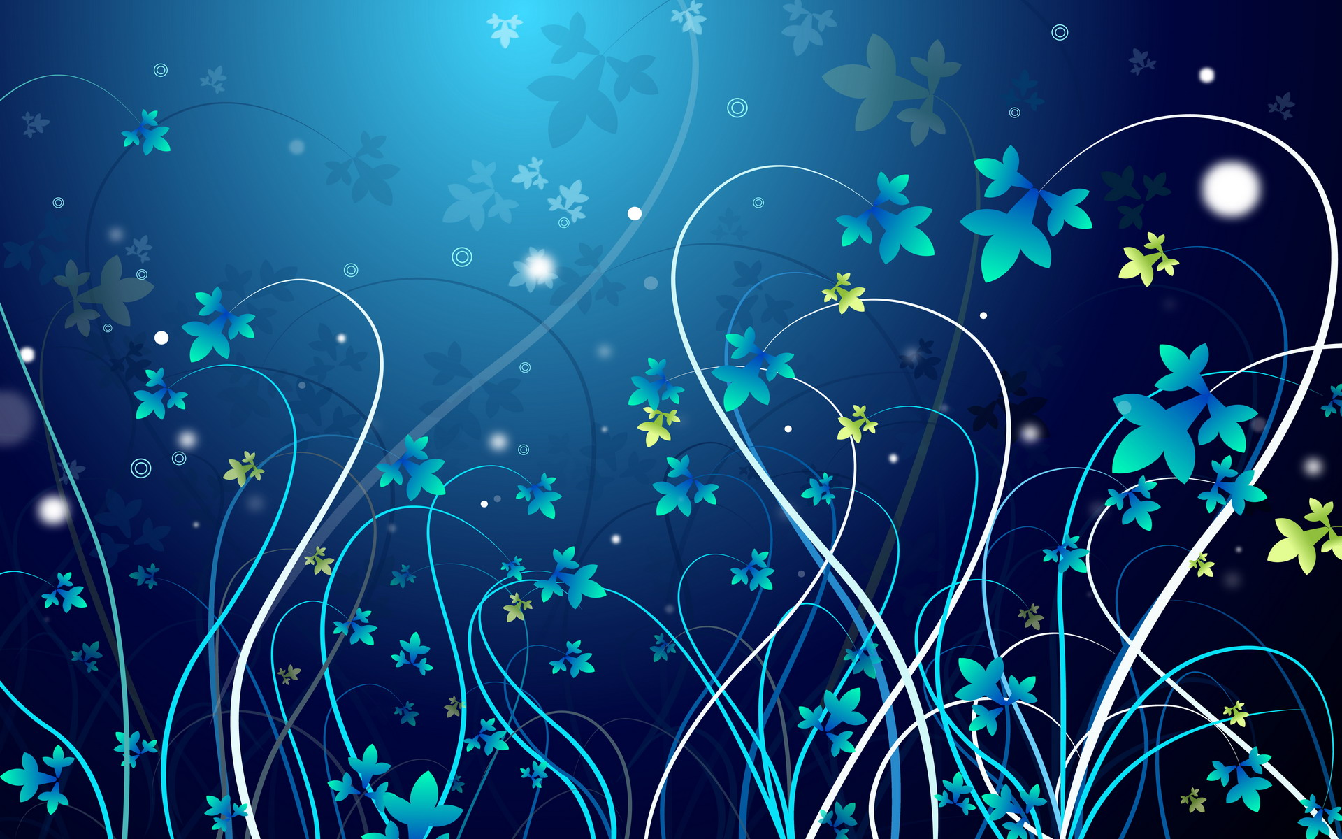 Beautiful ornament of vector blue flowers on a blue background
