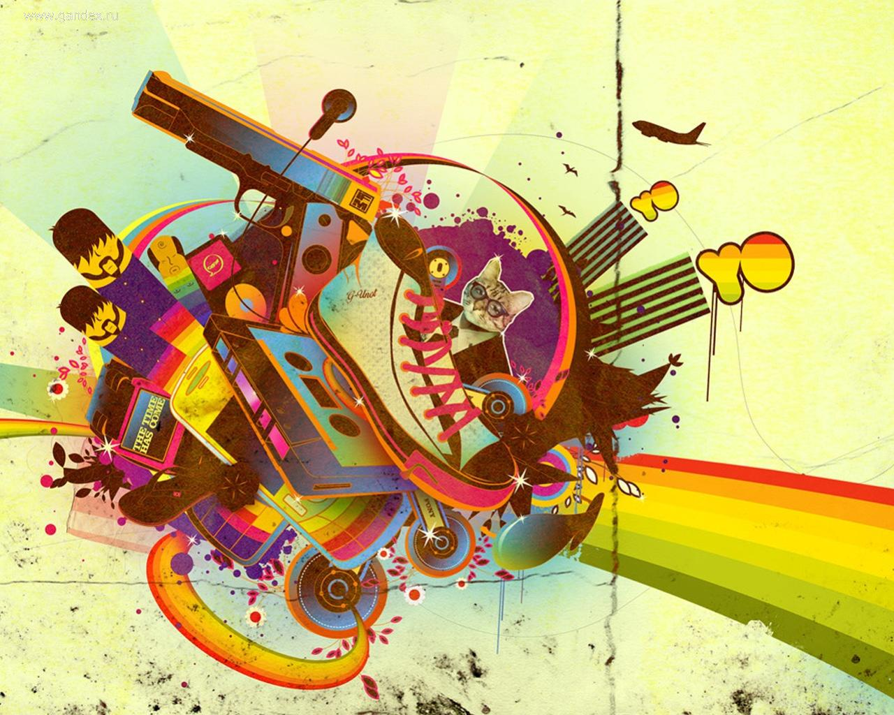 Full abstraction: gun, shoe, cat and everything all in one color picture.
