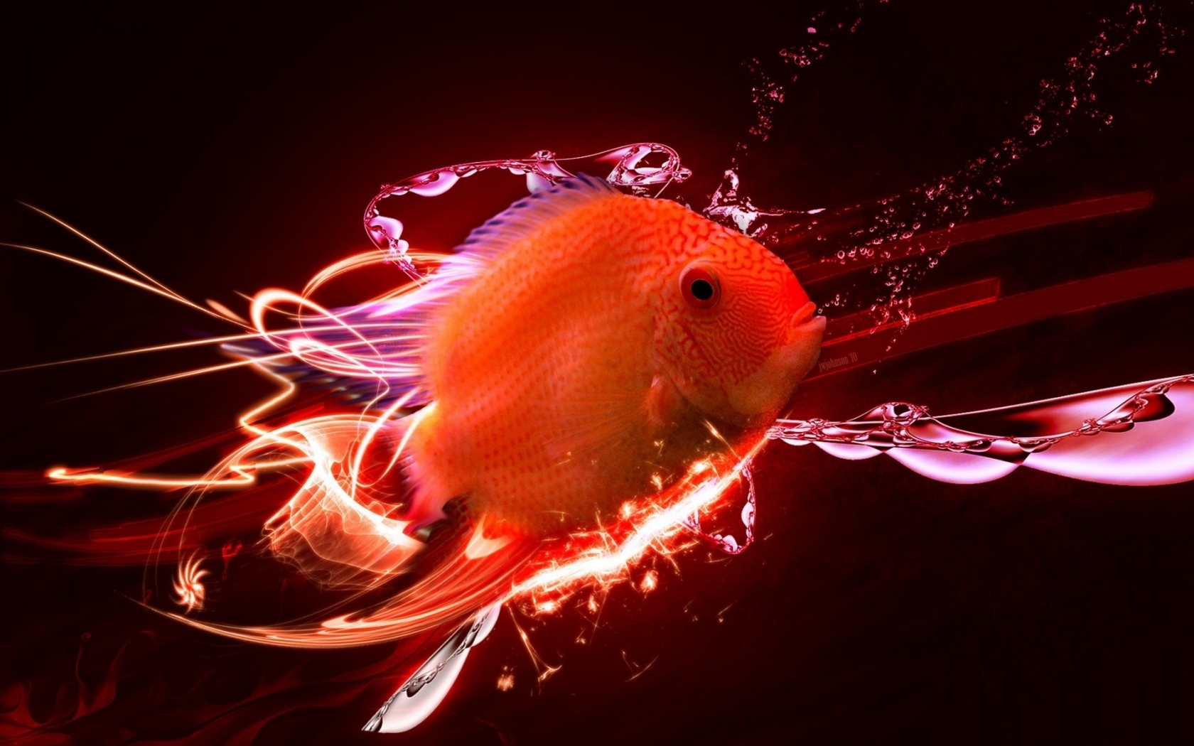 Goldfish with abstract background