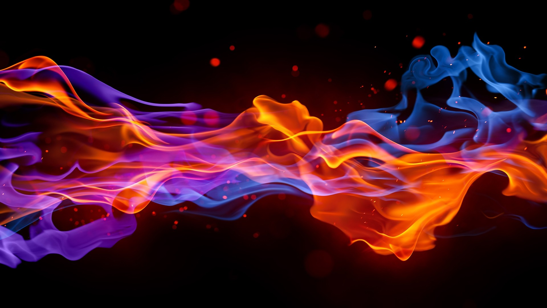 The intersection of the red and blue flames