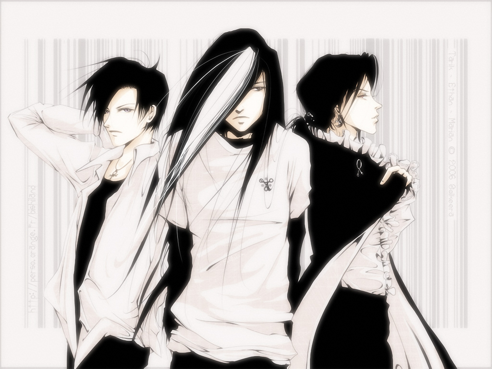 Three guys in the anime style pencil - Wallpaper