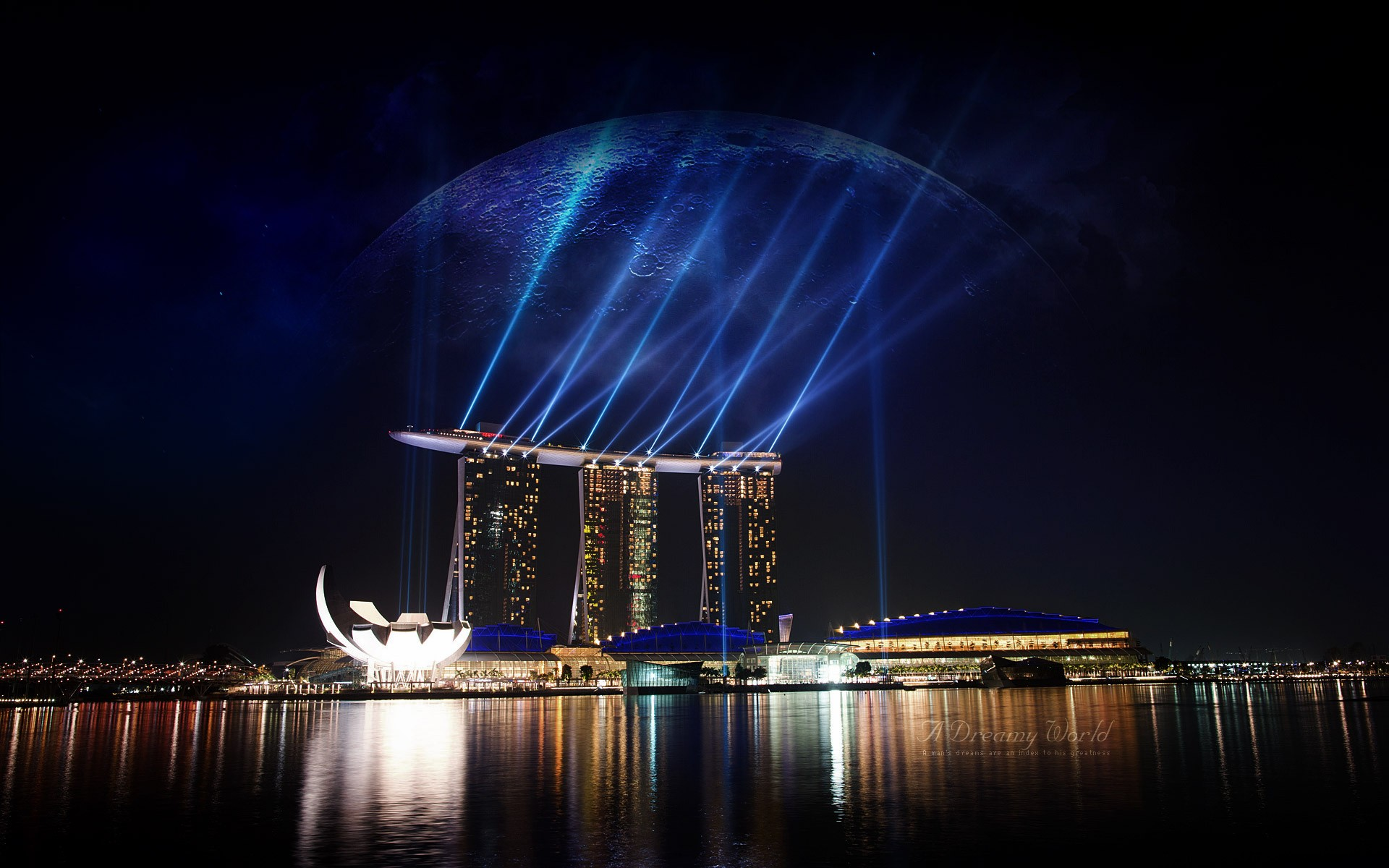 Boat-shaped hotel in Singapore at night