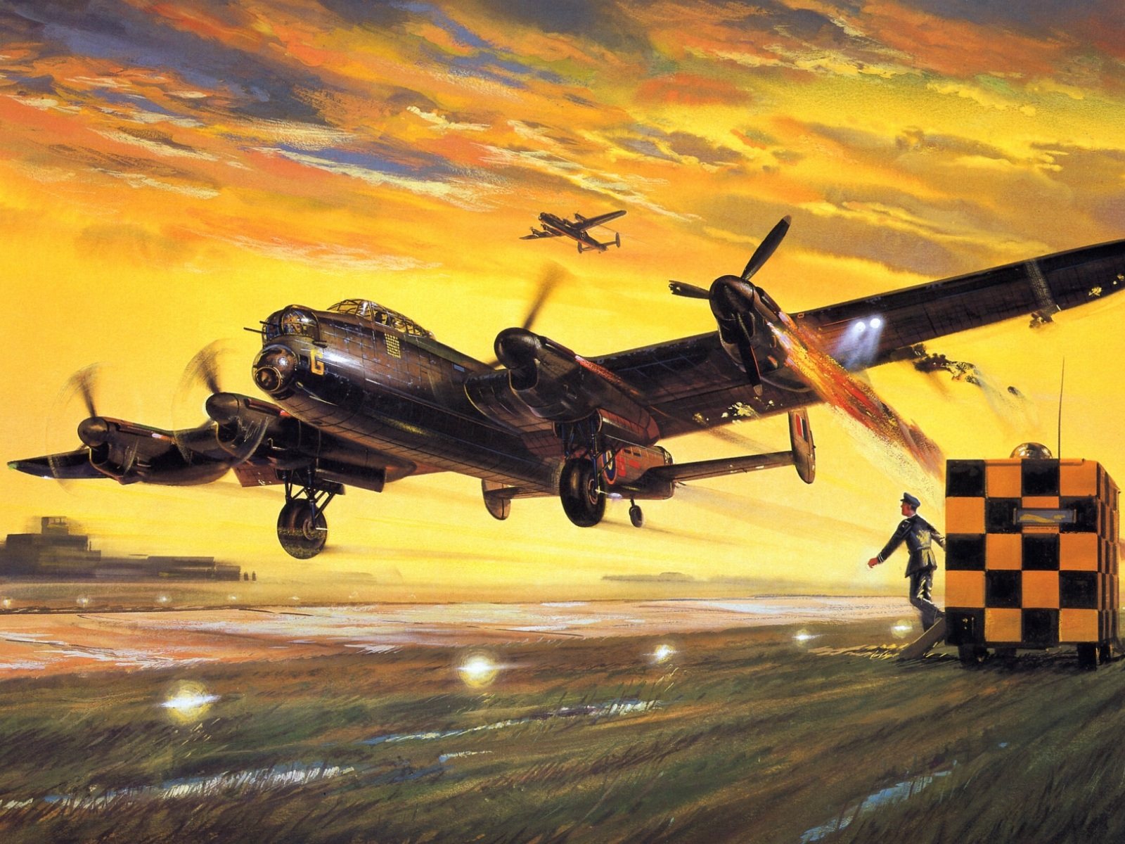 British Lancaster bomber to land after a difficult departure (1940, 1945)
