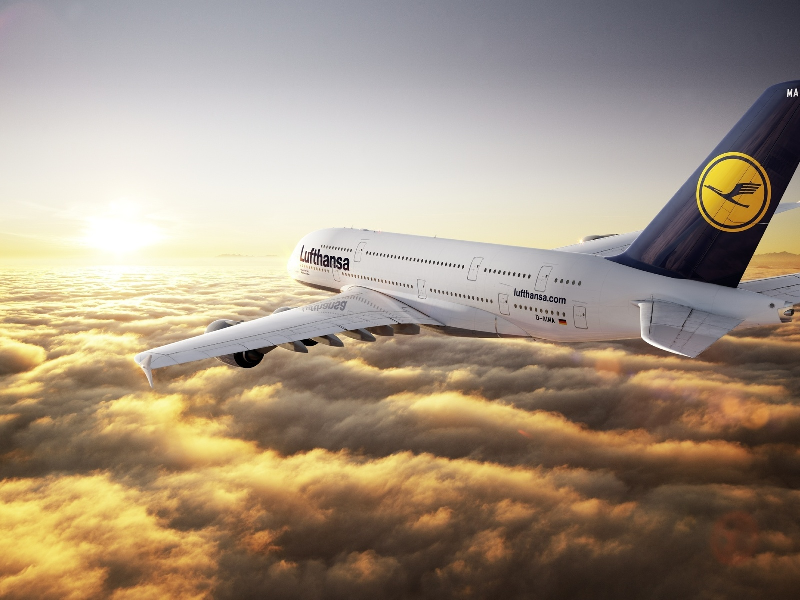 Lufthansa airplane in the clouds