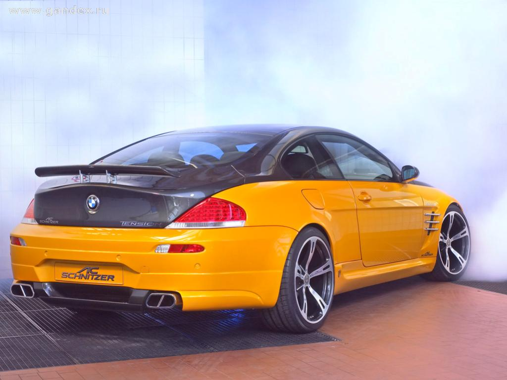 Black and yellow car back view BMW - Wallpaper