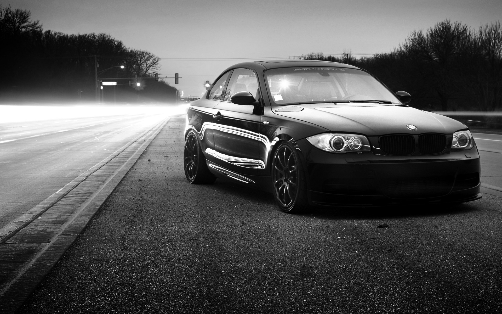 Black BMW 135i on the road, black and white wallpaper
