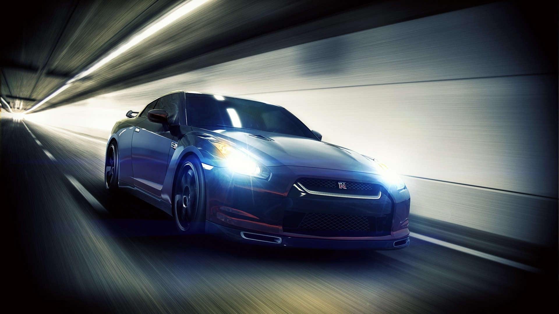 Blue Nissan GTR in the tunnel, photo wallpaper.