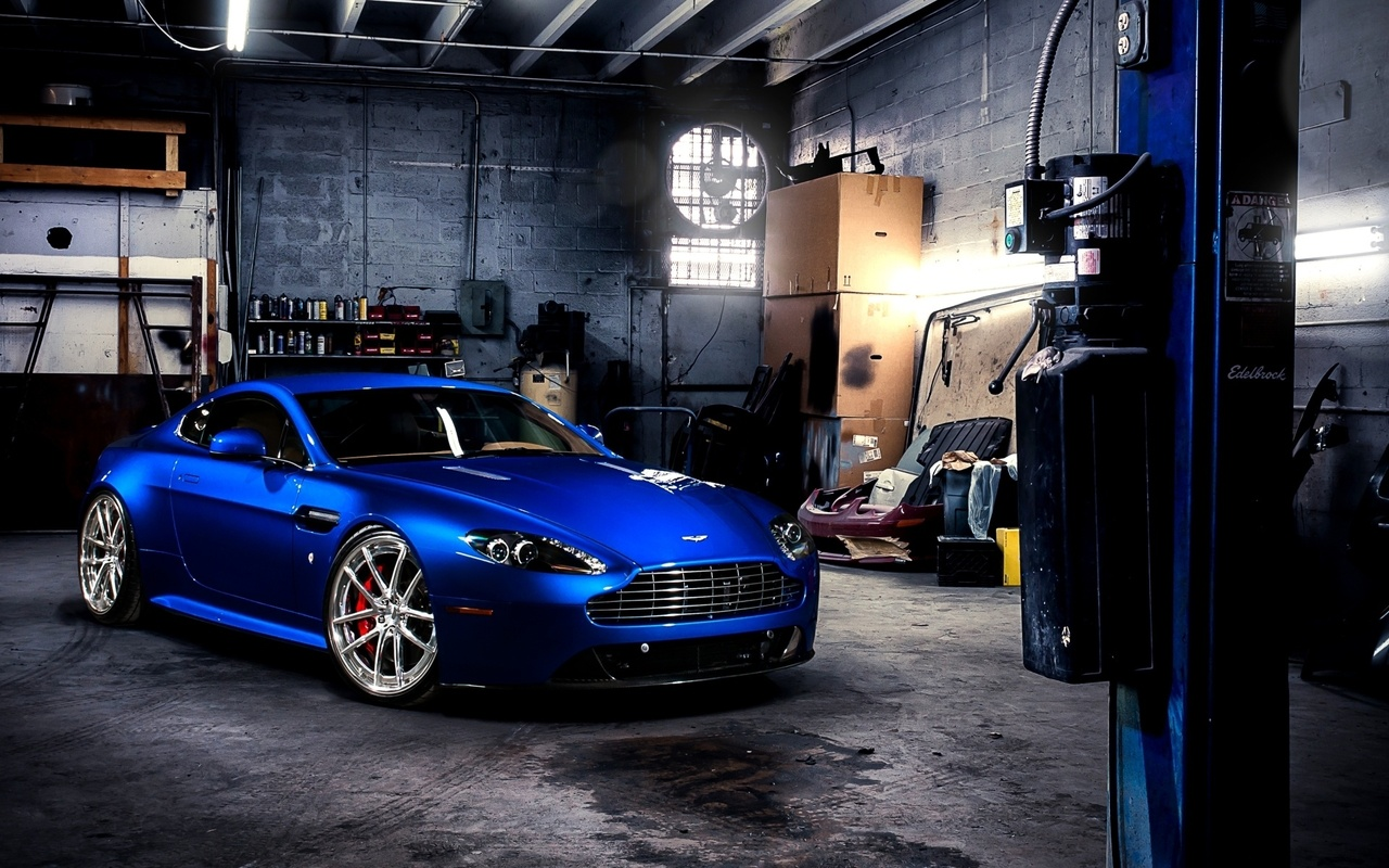 Blue sports car Aston Martin