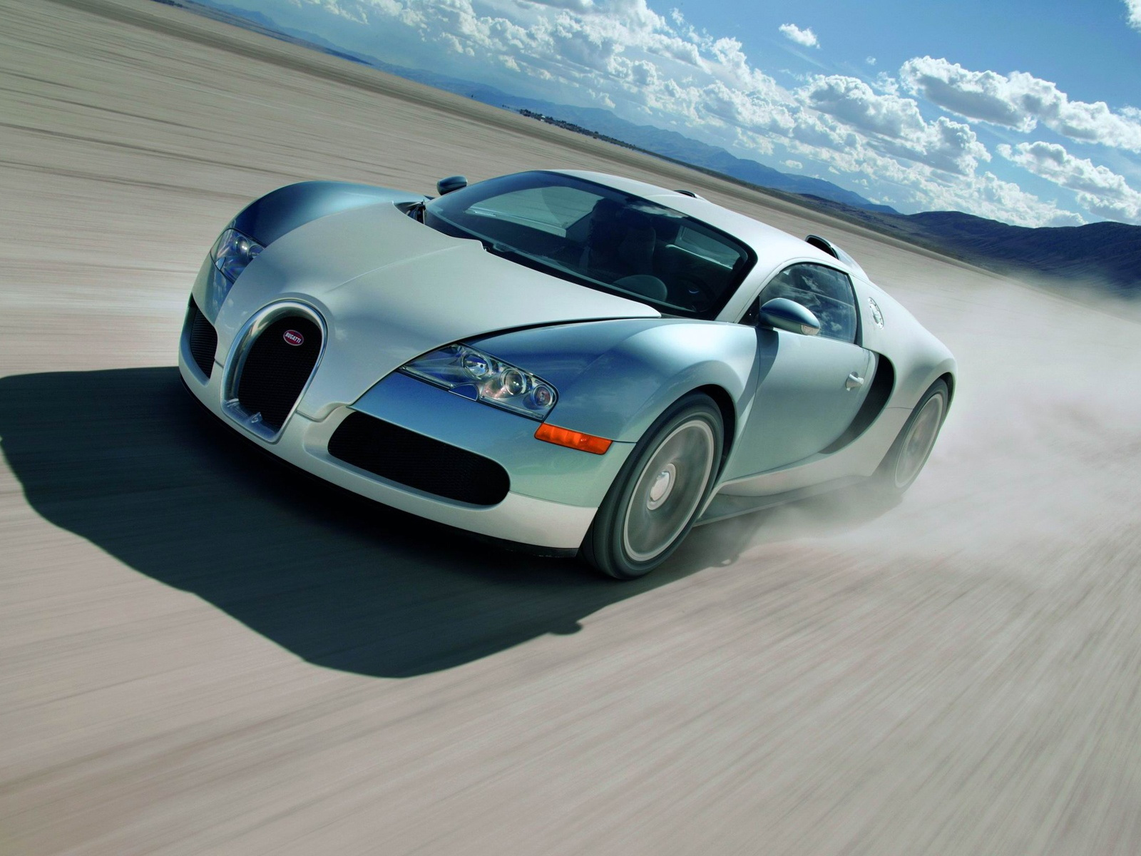 Bugatti racing car at high speed, wallpaper.