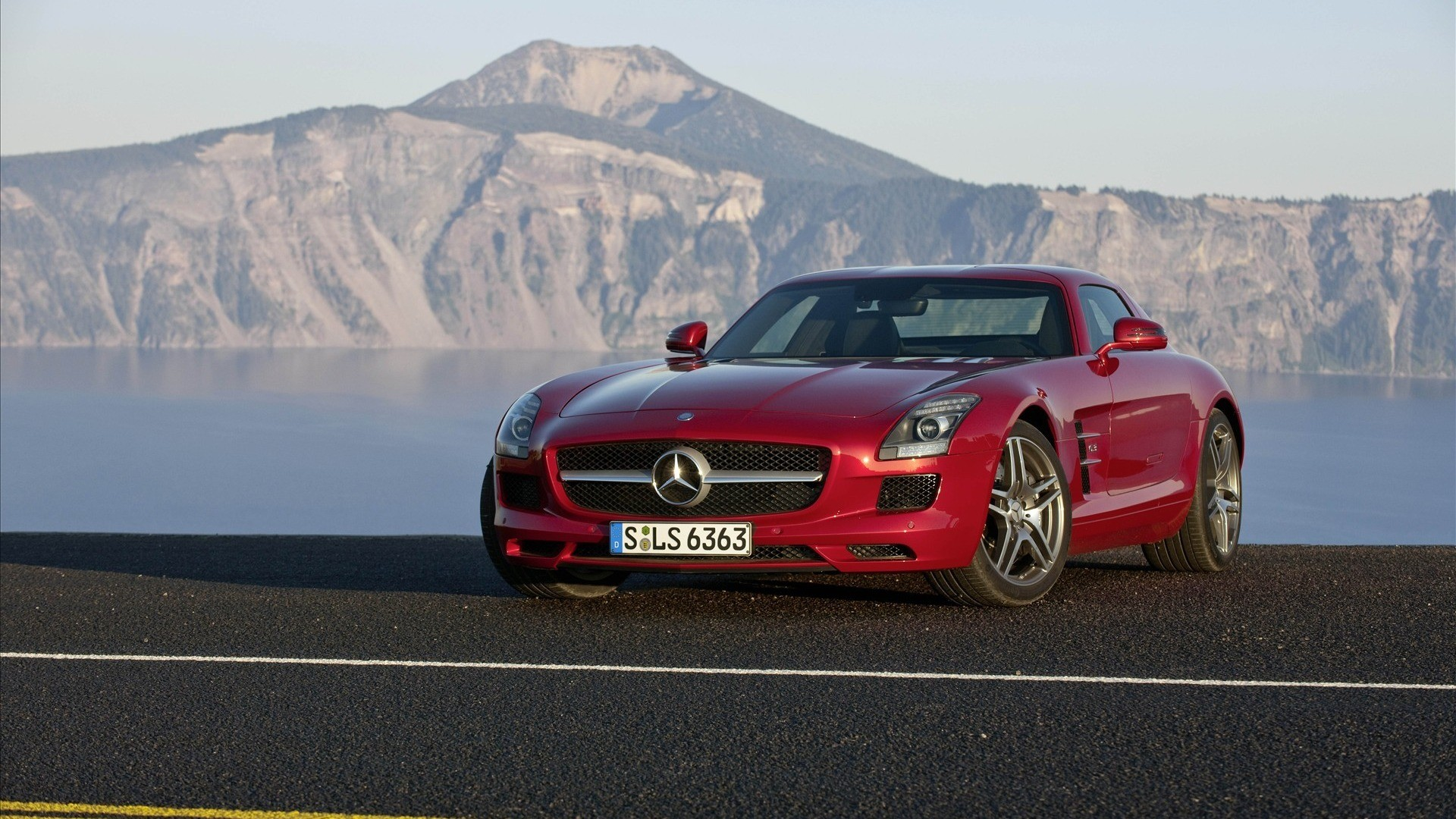 Car Mercedes-Benz SLS AMG red car photo
