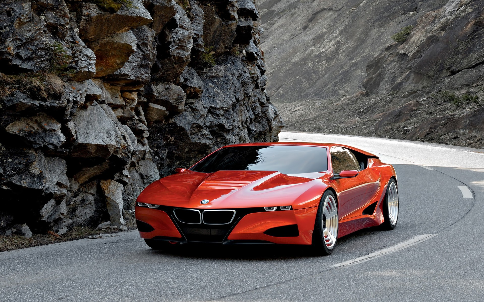 Concept red sports car BMW, photo wallpaper.