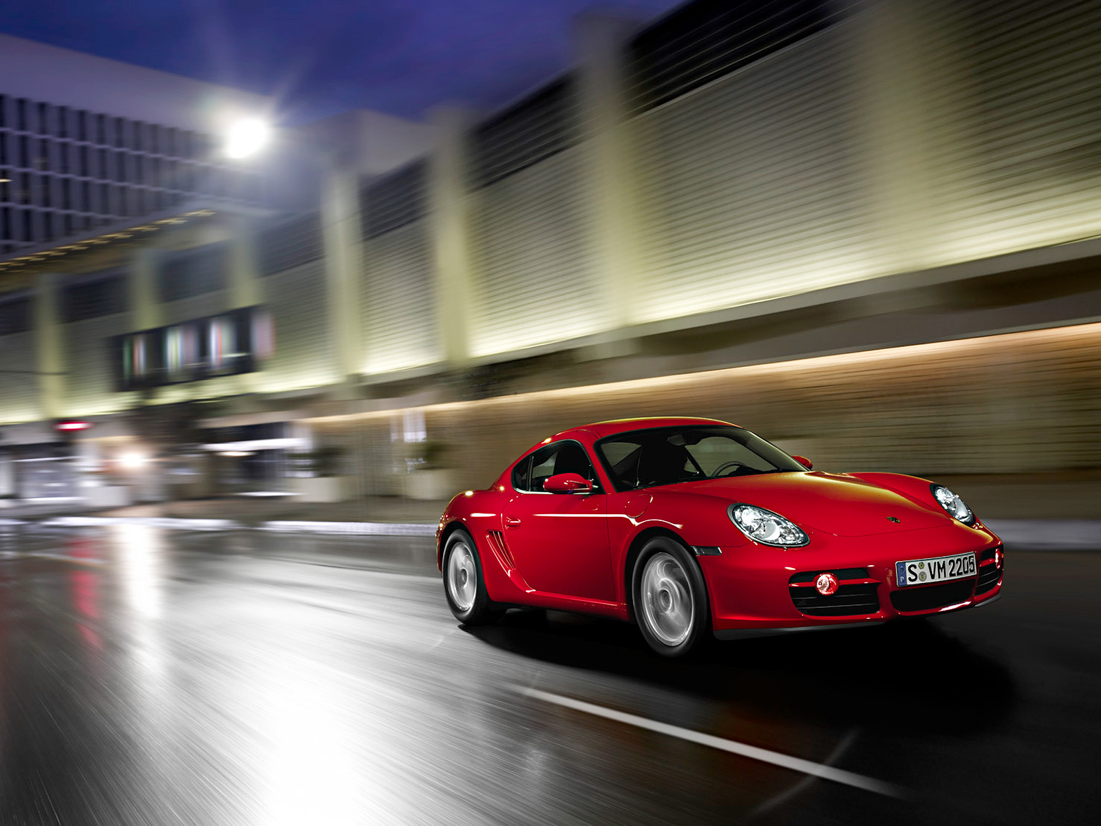 Desktop wallpaper with red car Porshe Cayman.