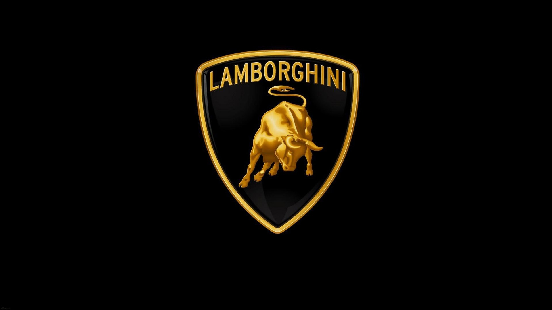 Logo of the Italian car brand Lamborghini on black background.