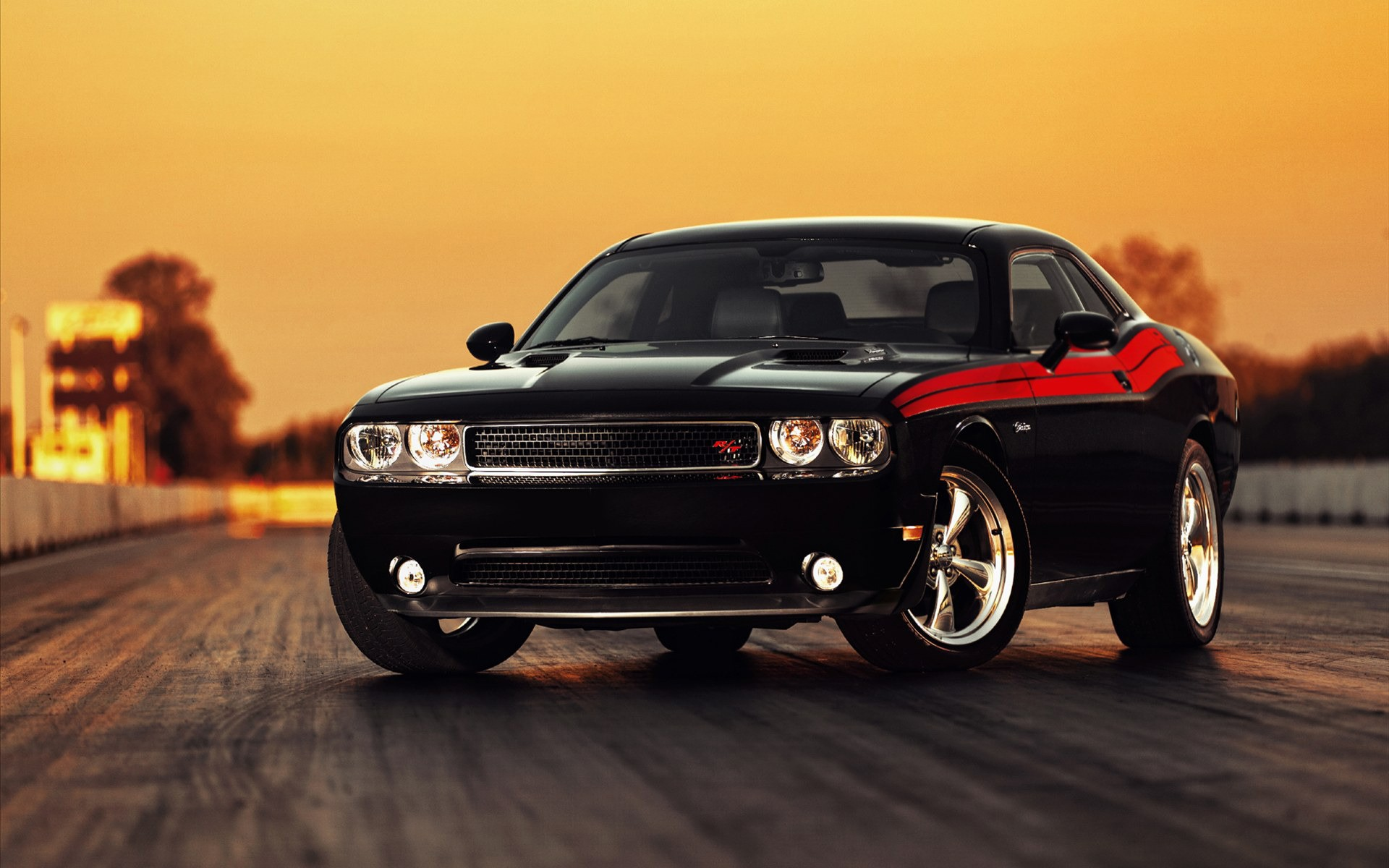 Photo Dodge Challenger car, black with red stripes