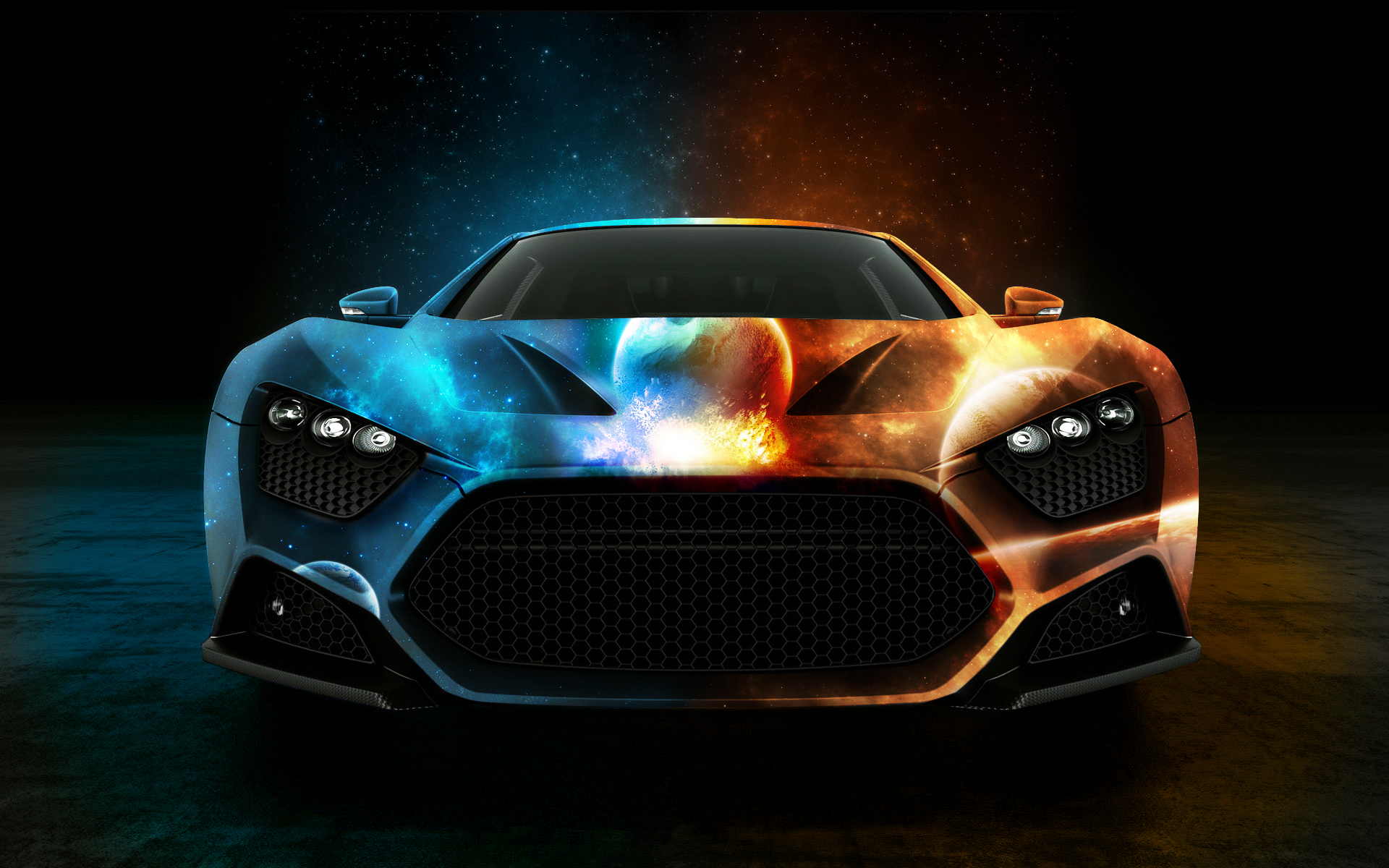 Sports car with a beautiful airbrush