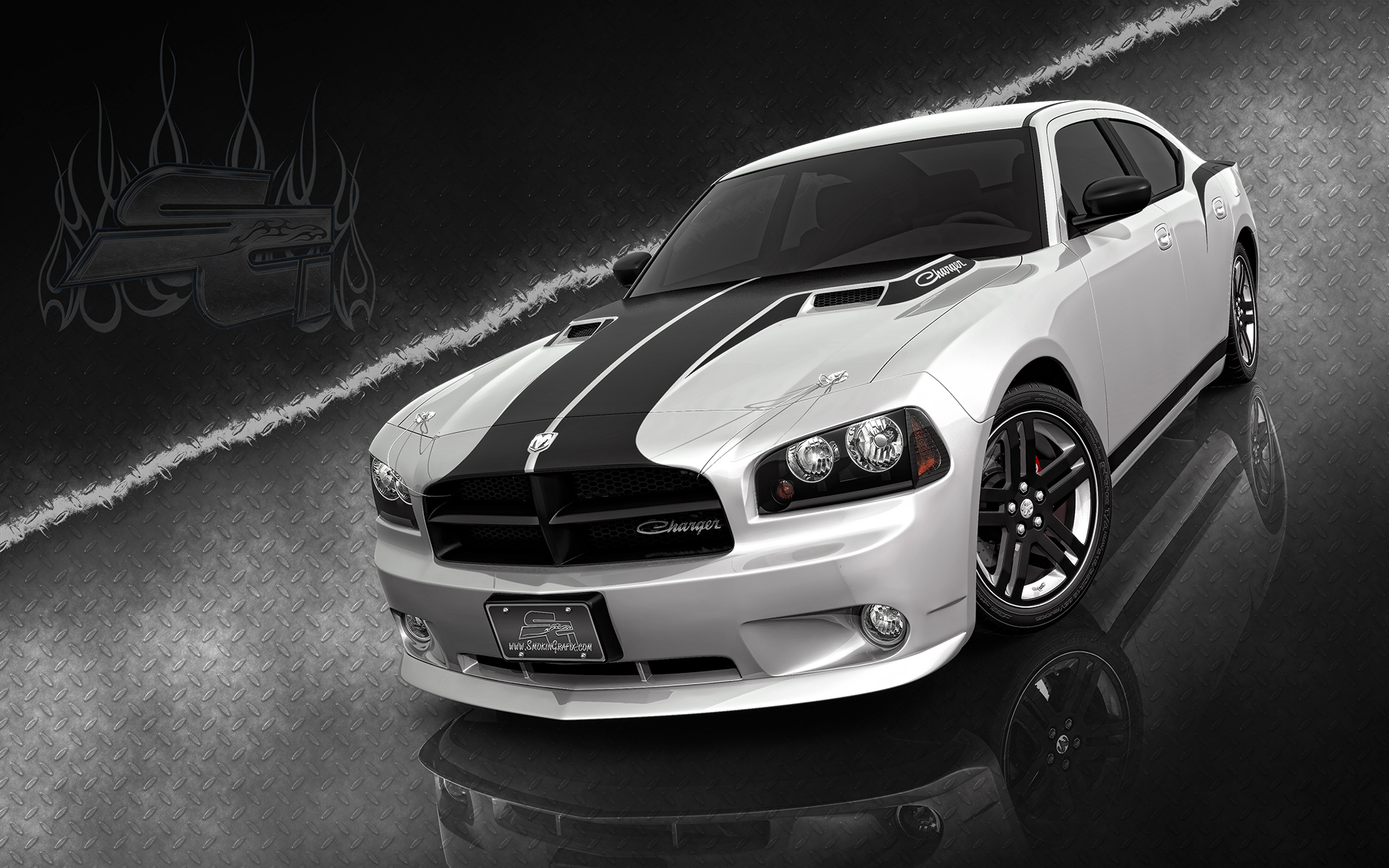 Tuned Dodge Charger in the sports color, the picture