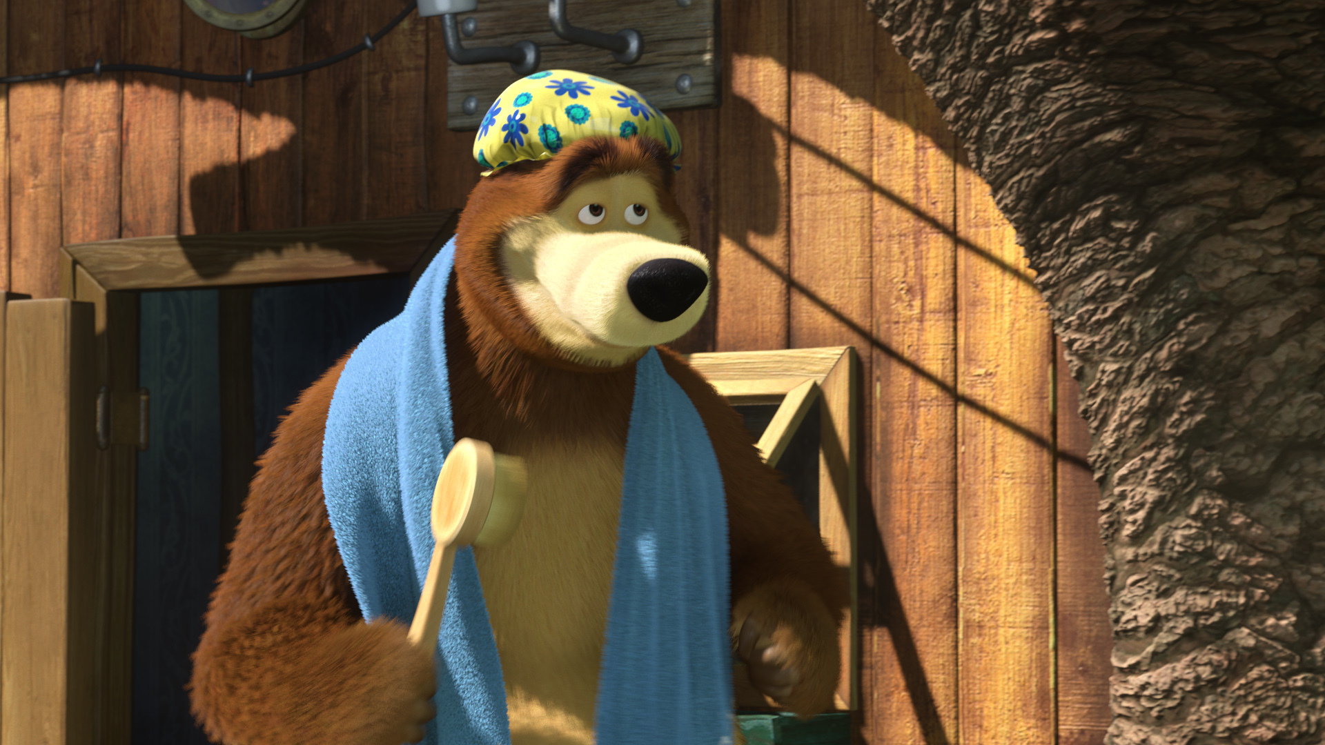 Bear with a brush and towel