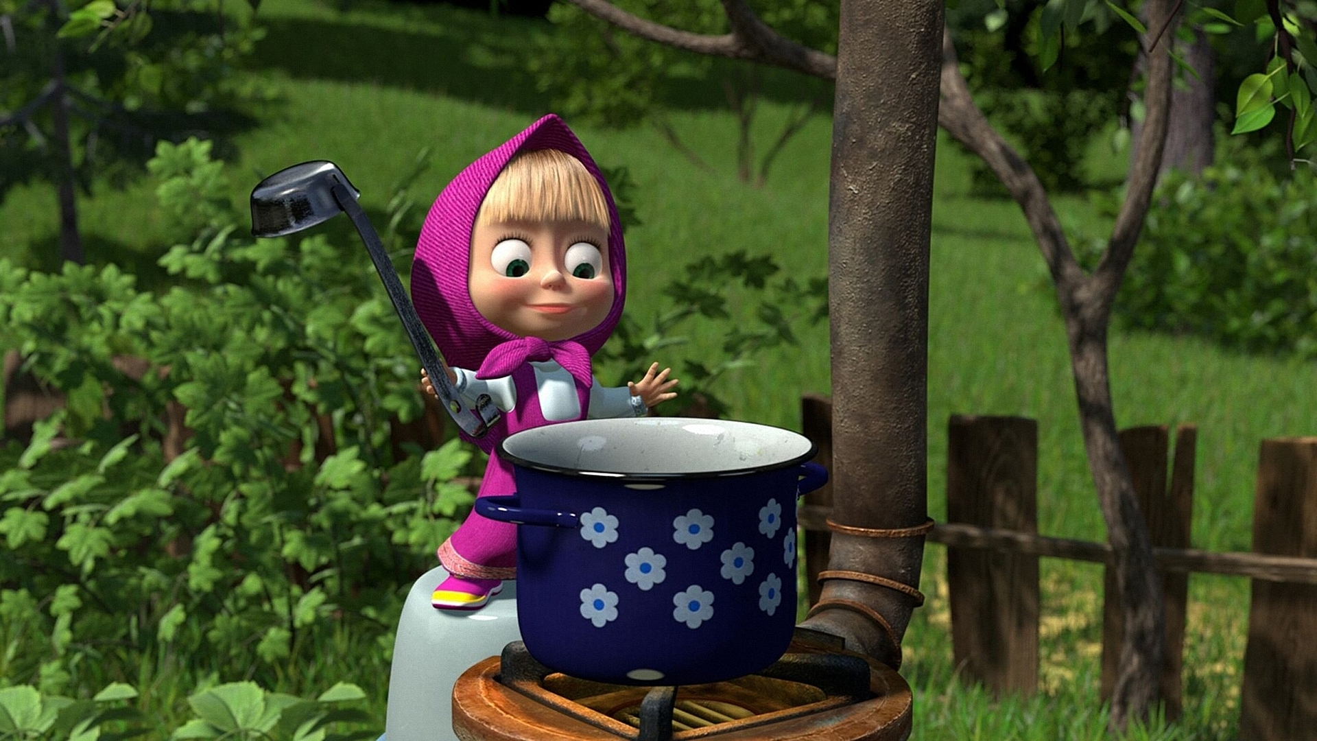 Mary with a saucepan