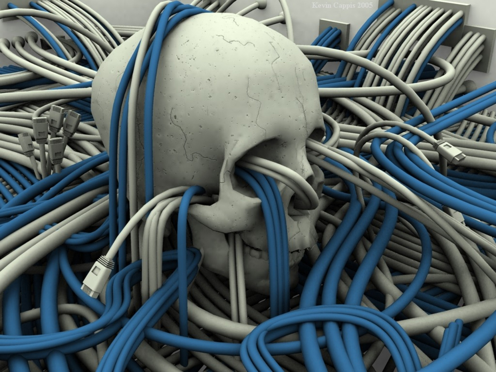 computer technician tangled in wires